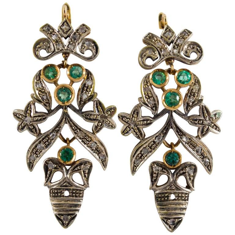Art Nouveau 1.60 Carat Emerald Diamond Gold Drop Earrings