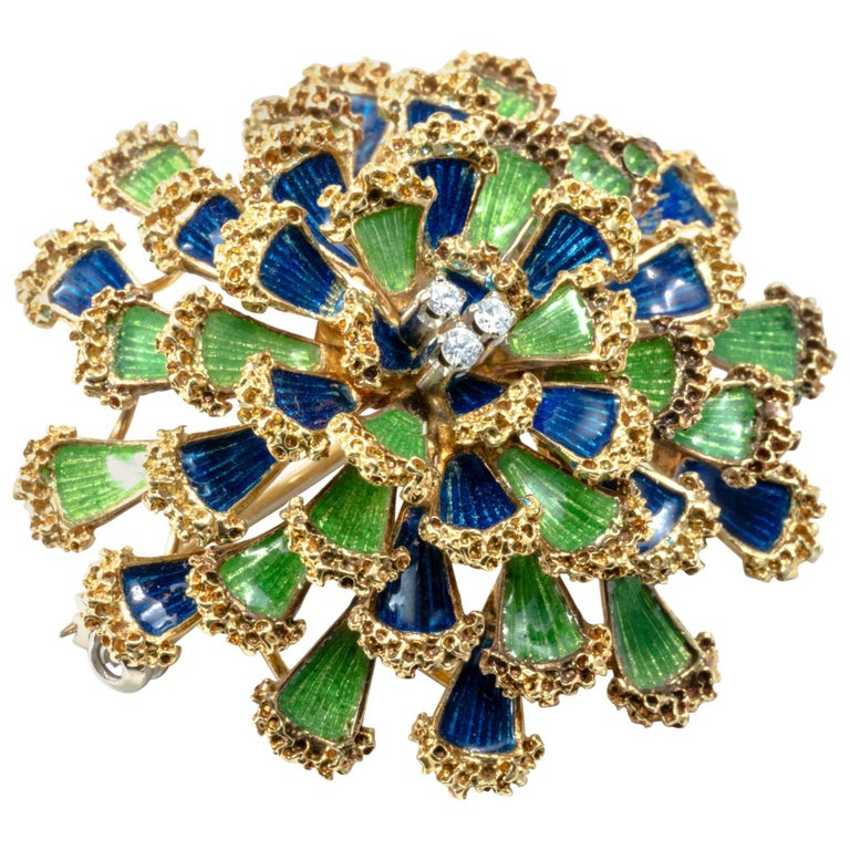 1950 Floral Dome Green and Blue Enamel Diamond Gold Pendant Pin Brooch