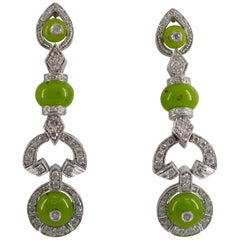 Renaissance Style 0.55 Carat White Diamond Jade White Gold Stud Drop Earrings