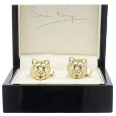 Solid 18 Karat Tiger Head Cufflinks