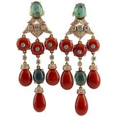 Mediterranean Red Coral 1.60 Carat White Diamond Tourmaline Yellow Gold Earrings