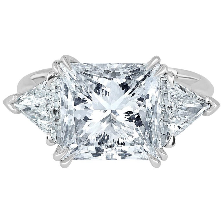 Platinum Ring, Set with Princess Cut Diamond, Weigh 5.02 Carat D Color SI1