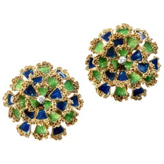 1950 Floral Dome Green and Blue Enamel Diamond Gold Earrings