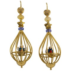 Tanzanite Opal Diamond Yellow Gold Bird Cage Earrings
