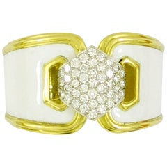 Wide David Webb White Enamel Bracelet with Pave Diamond Centrepiece