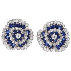 "Van Cleef & Arpels Paris 1980s Diamond Sapphire Platinum ""Camilia"" Earrings"