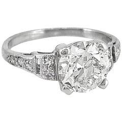 1.80 Carat Diamond Antique Engagement Ring Platinum