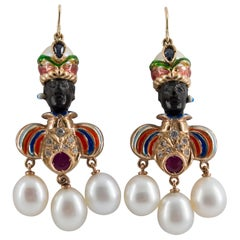 Ruby Sapphire Pearl Yellow Gold Ebony Moor of Venice Earrings