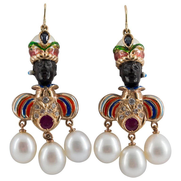 Ruby Sapphire Pearl Yellow Gold Ebony Moor of Venice Earrings For Sale