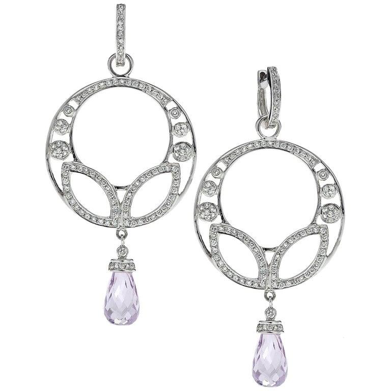 926 carat briolette kunzite diamond 18 karat white gold chandelier 926 carat briolette kunzite diamond 18 karat white gold chandelier earrings for sale aloadofball Images
