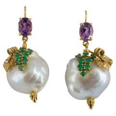 0.70 Carat Emerald Amethyst Pearl Yellow Gold Earrings