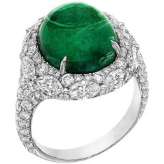 8.61 Carat Oval Cabochon Emerald Diamond Cocktail Ring