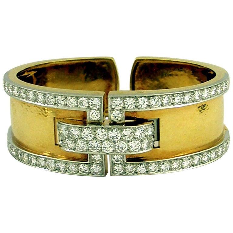 David Webb Gold and Platinum Geometric Design Bracelet with Diamonds
