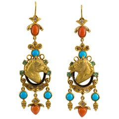 Coral Turquoise 0.90 Carat Emerald White Diamond Yellow Gold Horse Drop Earrings