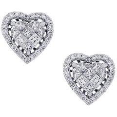 1.68 Carat Diamond Heart Earrings