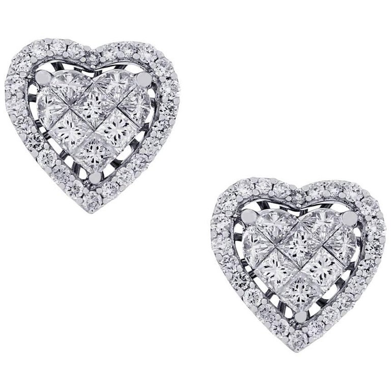 Round Brilliant And Princess Cut Diamond Heart Cer Earrings For