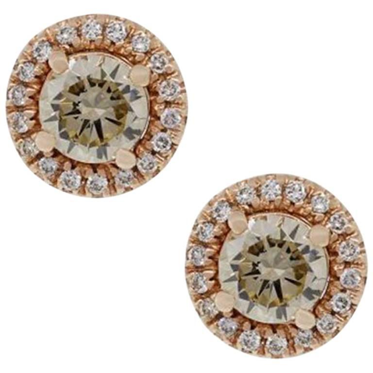 1.02 Carat Champagne Diamond Stud Earrings