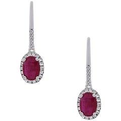1.85 Carat Ruby Dangle Earrings