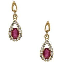 1.10 Carat Ruby Dangle Earrings