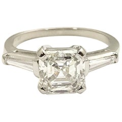 2.01 Carat Asscher Cut Diamond and Tapered Baguette Platinum Ring