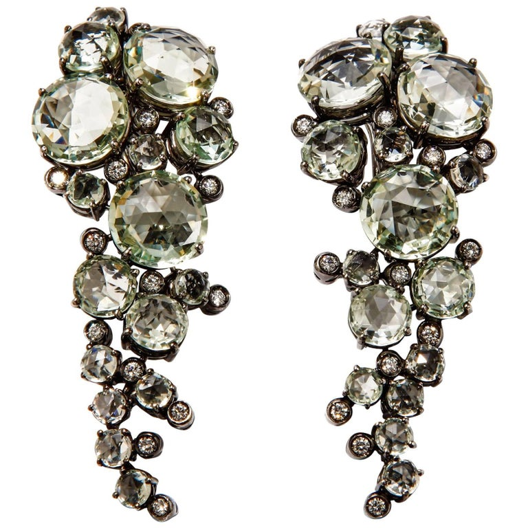 A & Furst Earrings Prasiolite and Diamonds 18 Karat Gold Bouquet Collection