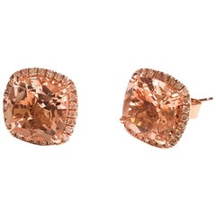 Ladies 14 Karat Rose Gold Morganite and Diamonds Earring