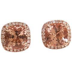 Ladies 14 Karat Rose Gold Morganite and Diamonds Earring