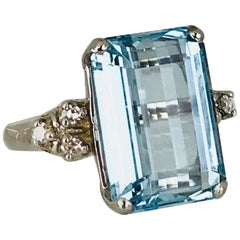 Aquamarine 13.00 Carat Emerald Cut Ring with Diamonds, Retro, circa 1965
