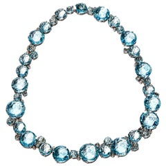 A & Furst Necklace Blue Topaz and Diamonds Bouquet Collection