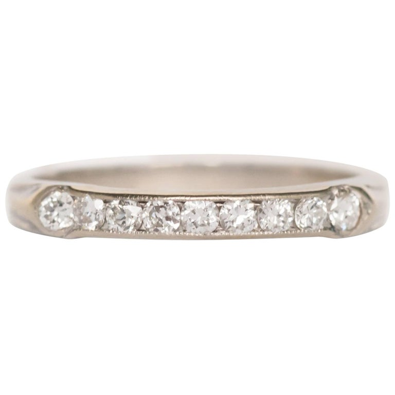 1920s Art Deco 10 Carat Total Weight Diamond Platinum Wedding Band For