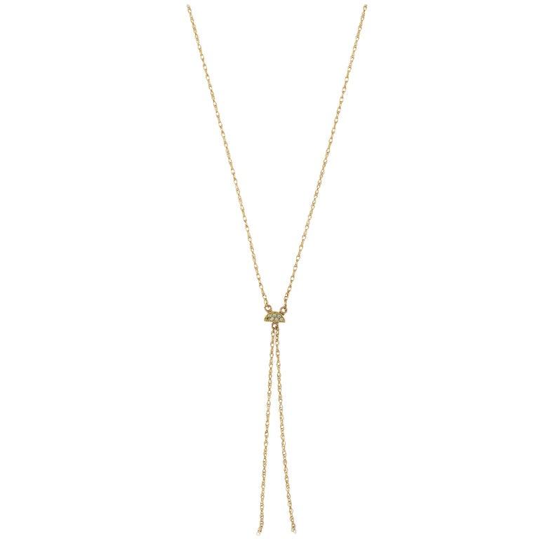 Lyra 18 Karat Yellow Gold Mint Sapphire Necklace