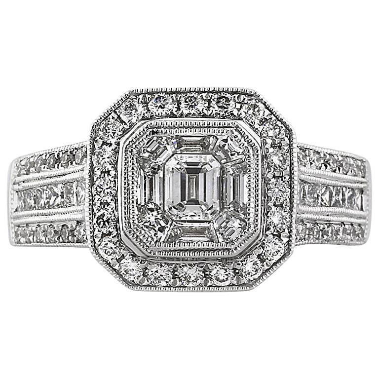 Mark Broumand 1.80 Carat Emerald Cut Diamond Engagement Ring
