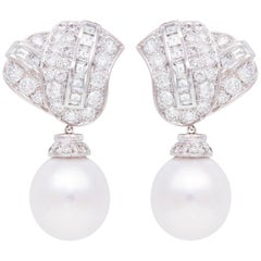 Ella Gafter South Sea Pearl Diamond Drop Earrings