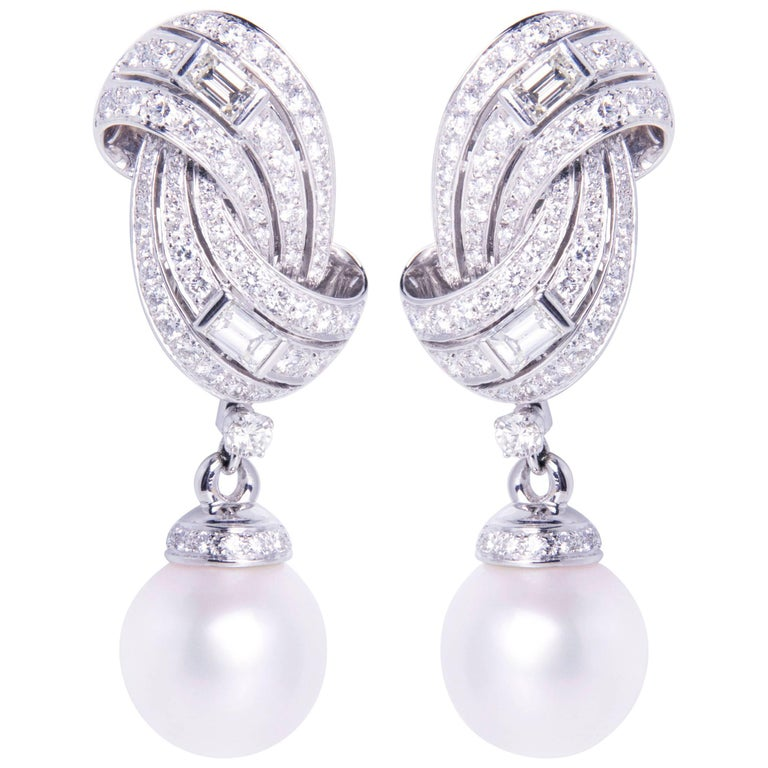 Ella Gafter South Sea Pearl and Diamond White Gold Dangle Drop Clip On Earrings