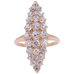 Old Mine Marquise Shape Cluster Diamond Ring 2.70 Carat