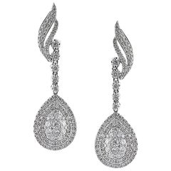 Mark Broumand 2.70 Carat Round Brilliant Cut Diamond Teardrop Earrings