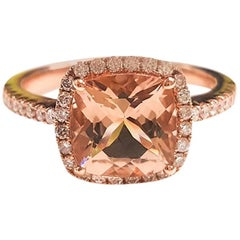 Ladies 14 Karat Rose Gold Morganite and Diamonds Ring