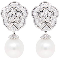 Ella Gafter South Sea Pearl and Diamond Drop Earrings Flower Design