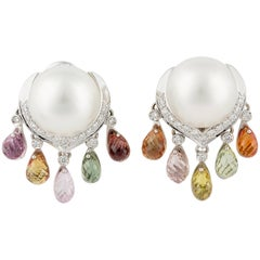 Ella Gafter South Sea Pearl Diamond Sapphire Briolette Clip-on Dangle Earrings