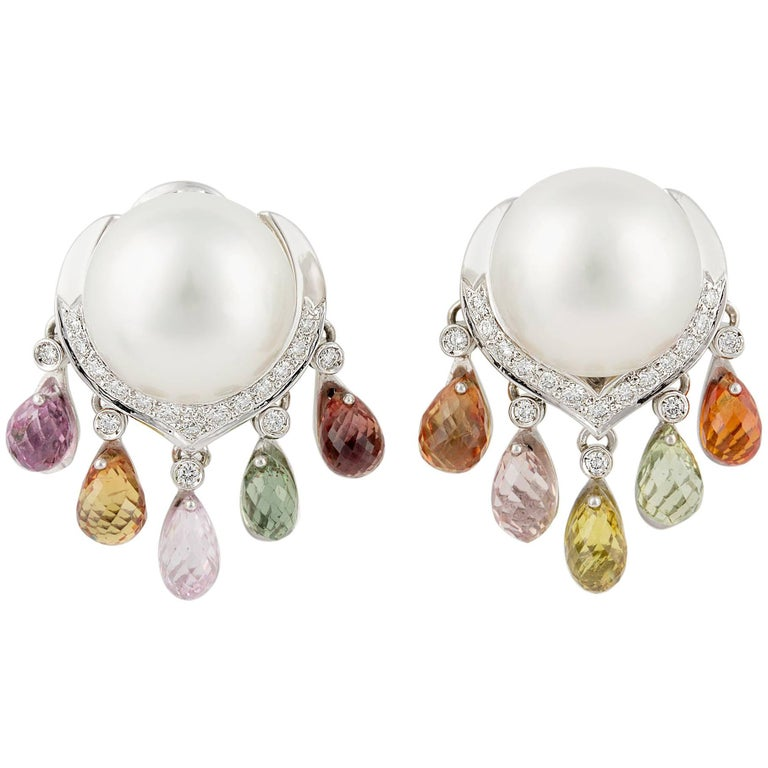 Ella Gafter South Sea Pearl Diamond Earrings with Sapphire Briolettes Clip-On For Sale