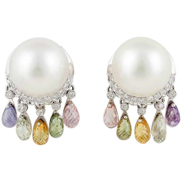 Ella Gafter South Sea Pearl Diamond Sapphire Briolette Clip-on Dangle Earrings