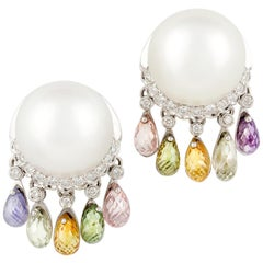 Ella Gafter South Sea Pearl Diamond Earrings with Sapphire Briolettes Clip-On
