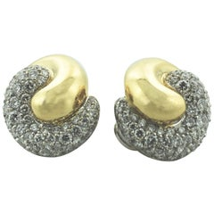 Pave' 18 Karat Yellow and White Gold Earrings