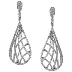 Mark Broumand 2.60 Carat Round Brilliant Cut Diamond Teardrop Earrings