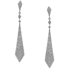 Mark Broumand 0.75 Carat Single Cut Round Diamond Kite Shaped Earrings