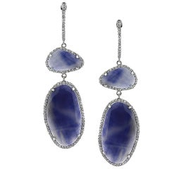 Mark Broumand 12.89 Carat Sapphire Slice and Diamond Dangle Earrings