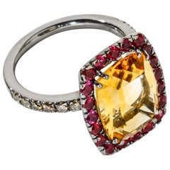 A & Furst Cocktail Ring Citrine, Rubies and Cognac Diamonds Dynamite Collection