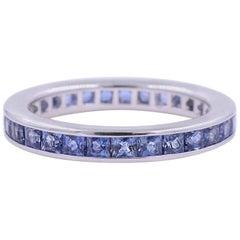Stackable Sapphire Channel Set Eternity Ring 1.90 Carat, 18 Karat Gold