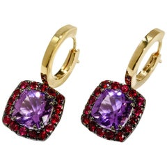 A & Furst Drop Earrings Amethyst Ruby 18 Karat Gold Dynamite Collection