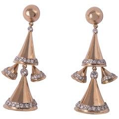 Retro 18 Karat Yellow Gold and Diamond Earrings